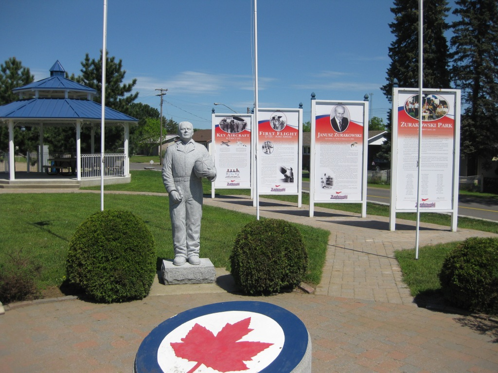 Zurakowski Park with statue and maple leaf in the middle